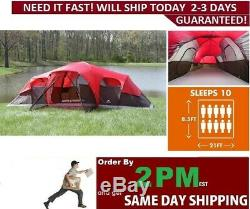 10-Person 3-Room Cabin Large family Outdoor Camping Tent Screen Porch Waterproof
