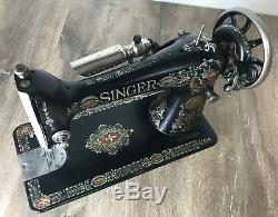 1914 Singer 66 Sewing Machine Electric Redeye Heavy Duty Serviced Works Perfect