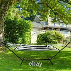 2 Person Hammock with Stand, Spreader Bars and Detachable Pillow Safe Heavy Duty