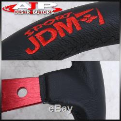 350Mm 3.5 Deep Drift/Racing Leather Steering Wheel Black Red Stitch For Subaru