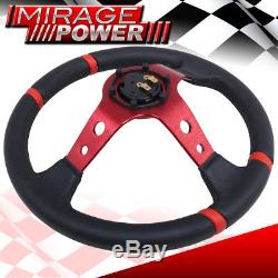 350mm Drifting Deep Dish 6 Bolts Steering Wheel Red Stitching Spoke For Scion