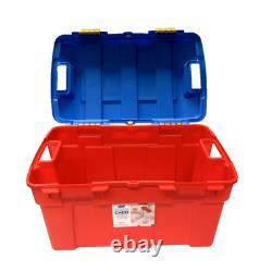 40l Whitefurze Heavy Duty Red & Blue Storage Box Trunk For Toys Tools Lego Books