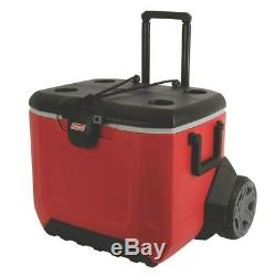 55 Qt. Rugged Chest Cooler Rolling 2-Wheeled Heavy-duty Lid Telescoping Handle