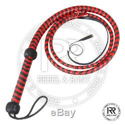 6 feet long 12 plait Genuine Real Leather Bull Whip Heavy Duty Red & Black