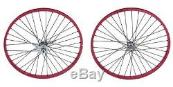 Beach Cruiser Bicycle 26x2.125 Heavy Duty 12g Front &Rear Wheel anodized RED