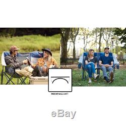 Blue/Silver Double Love Seat Heavy-Duty Folding Chair Outdoor Camping Picnic