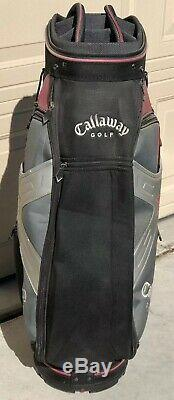 Callaway X Golf Cart Bag Black Gray Red 36 10 Way Divider Heavy Duty Handle