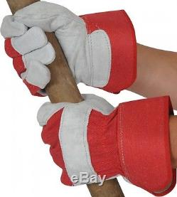 Canadian Leather Rigger Work Gloves Heavy Duty Red / Grey