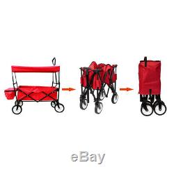 Collapsible Folding Utility Wagon Cart with Canopy Red
