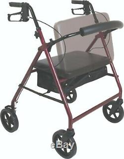 Compass Health Rolling Walker Rollator withSeat Back, Heavy Duty 400lb Capacity