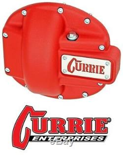 Currie Ent Heavy Duty Iron Front Differential Cover Text Red fits Jeep Dana 30