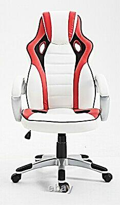 Designer sport gaming high back luxury leather home office study chair Red/white