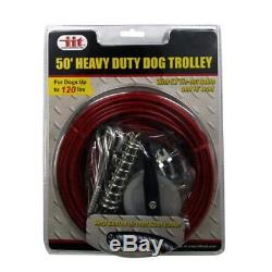 Dog Cable Kit Run Runner Tie Out Trolley System Heavy Duty 50 Foot 120lbs Steel