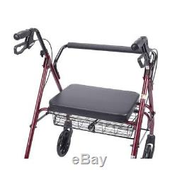 Drive Heavy Duty Bariatric Red 4-Wheel Rollator Walker with Large Padded Seat