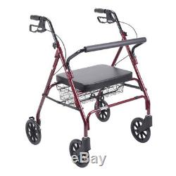 Drive Medical Heavy Duty Bariatric Rollator Rolling Walker with Large Padded
