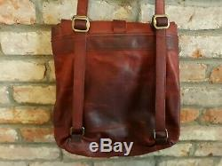Duluth Trading Lifetime 100% Leather Deep Red Distressed Crossbody, Backpack Bag