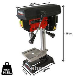 Excel Pillar Drill Bench Press 300W 13mm Chuck Bench Top Mounted Red Black 230V