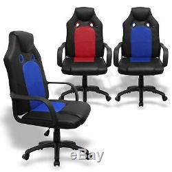 Executive Office Chair Racing Gaming Chair Swivel Recliner Computer Desk Leather