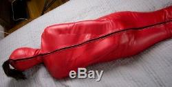 Genuine Real leather Women Sleep Sack Heavy Duty Bind Sack Escapology Magic Red