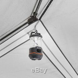 Gray & Red 8-Person Instant Hexagon Tent W LED Lights Outdoor Camping Set