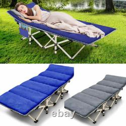 Heavy Duty Folding Camping Cot Hiking Travel Military Wide Bed with Mattress & Bag