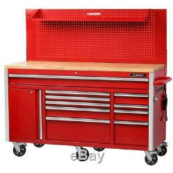 Husky Tool Chest Mobile Workbench Pegboard Storage Holder Heavy Duty Wheels Red