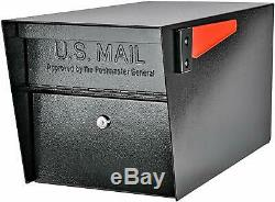 Large Lockable Mailbox Residential Modern Heavy Duty Secure Red Flag Steel 3 Key