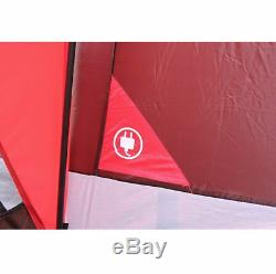Large Outdoor Camping Tent, 10-Person 3-Room Cabin Screen Porch Waterproof Red