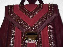 MICHAEL KORS Elegant WHITNEY Maroon/Oxblood STUDDED BACKPACK and WALLET NWT $616