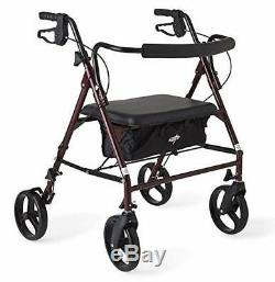 Medline Heavy Duty Bariatric Mobility Rollator with 8 Deluxe Wheels, 500 lbs
