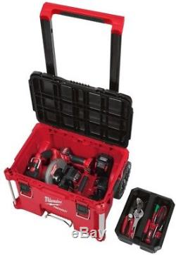 Milwaukee 22 in Rolling Tool Box Portable Storage Red Resin Heavy Duty