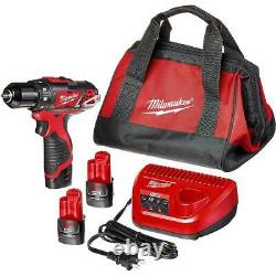 Milwaukee 2407-22 M12 12V 3/8 Drill/Driver with Batteries