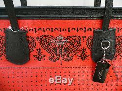 NEW Genuine COACH TAXI BANDIT Zip LARGE Tote LEATHER Bag RED Black Silver Market