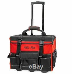 NEW Portable 19 Pouch Tool Bag, Heavy Duty Tools Case Storage with Wheels & Handle