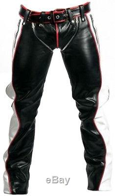 NEW REAL BLACK RED And WHITE LEATHER HEAVY DUTY BONDAGE PANTS JEANS BLUF GAY