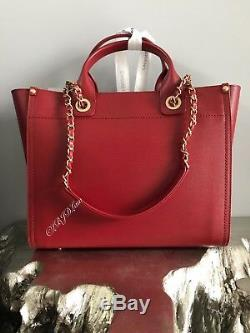 NWT CHANEL BURGUNDY LEATHER DEAUVILLE TOTE 2018 Medium GST GRAND SHOPPING RED