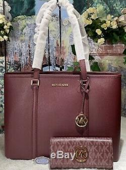NWT MICHAEL KORS SADY LARGE M/F Top Zip TOTE & WALLET In MERLOT RED Leather