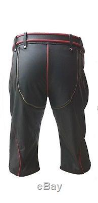 New Sexy Real Black Red And White Leather Heavy Duty Bondage Shorts Bluf Gay