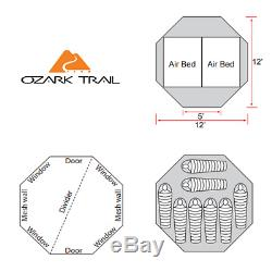 Ozark Trail 80 tall 8-Person Dome Tent with Removable Room Divider Family Camp