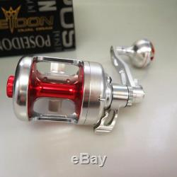 POSEIDON 400R 2 Speed Reel RIGHT SALTWATER Sil/Red HEAVY DUTY 2DAYS FEDEX TO US