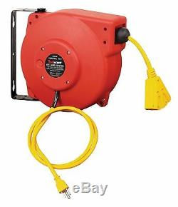 REELWORKS Heavy Duty Extension 40 ft. Cord Reel, 14AWG/3C SJT, Triple Tad Cord