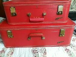 Rare Vintage Lady Baltimore 2pc Fire Engine Red Luggage Gorgeous