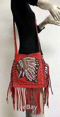 Raviani Western Red Leather Crossbody With Hand Painted Indian Head & Fringe-Studs