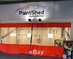 Red & Clear Heavy Duty Workshop Spray Gun Prep Booth Door Curtains 20ft X 9 Ft