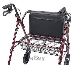 Red Heavy Duty Rollator Walker, Basket, 500 lb. Weight Capacity, Padded Seat