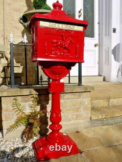 Red Mail Box Vintage Style Heavy Duty Traditional Letter Post Aluminium Pedestal
