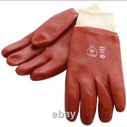 Red Pvc Heavy Duty Gloves Rubber Coated Gauntlets New Builders Gardening Cheap