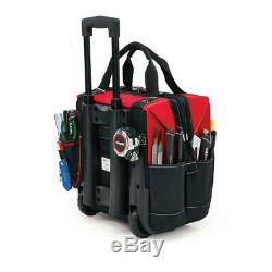 Rolling Heavy Duty Tool Tote Bag Large Compartment 13 Pockets With Handle 14 In