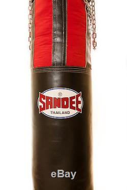 Sandee 5ft Black & Red Half Leather Punch Bag Muay Thai Heavy Duty Kick Bag
