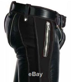 Sexy Real Black Leather Heavy Duty Bondage Pants Jeans Bluf Gay